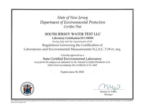 New Jersey Department of Environmental Protection Certificate 2020